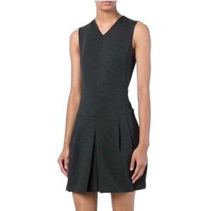 Vince Ponte Dropped Waist Pleated Dress in Grey